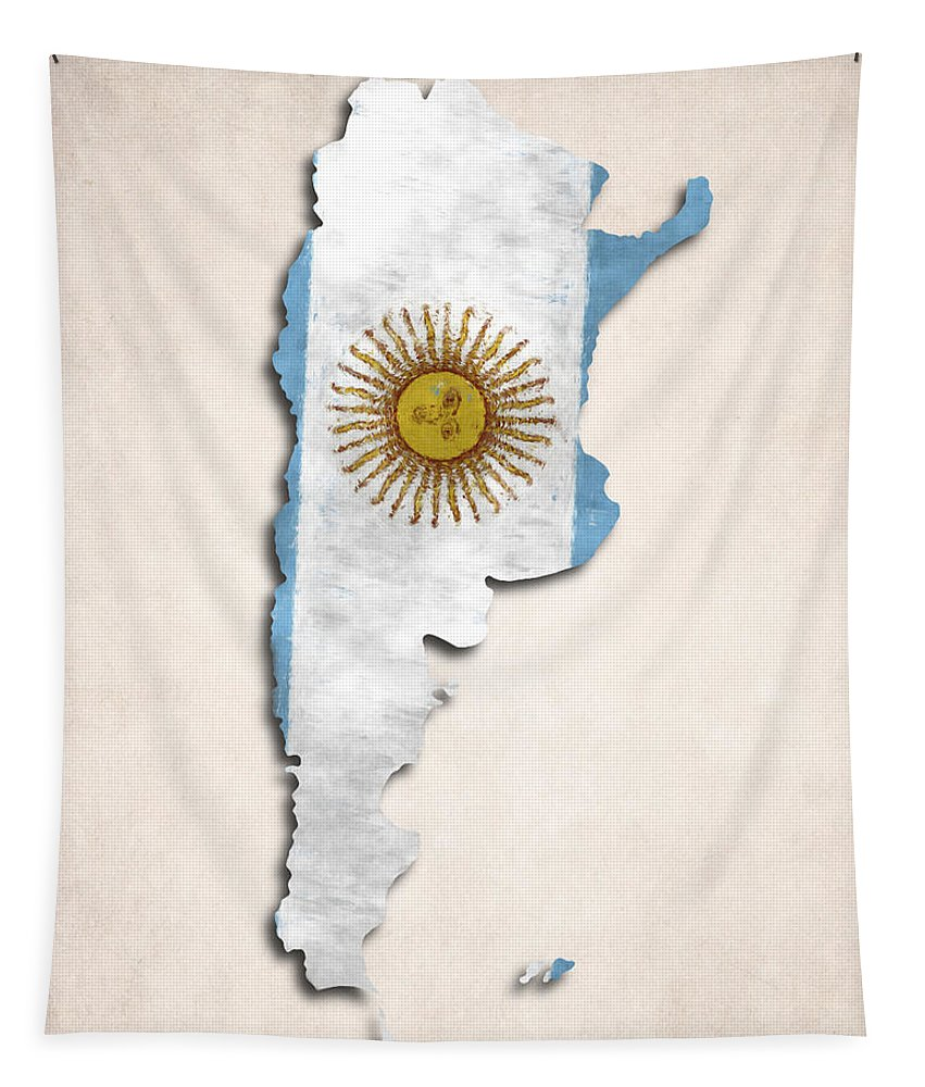 Argentina Tapestry featuring the digital art Argentina Map Art With Flag Design by World Art Prints And Designs