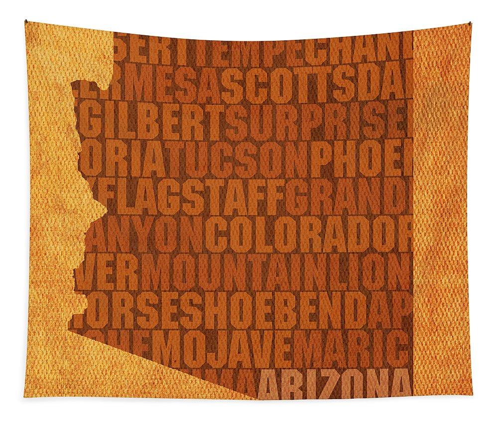 Arizona Word Art State Map On Canvas Phoenix Flagstaff Tucson Grand Canyon Desert Yuma Scottsdale Cactus Usa Tapestry featuring the mixed media Arizona Word Art State Map On Canvas by Design Turnpike