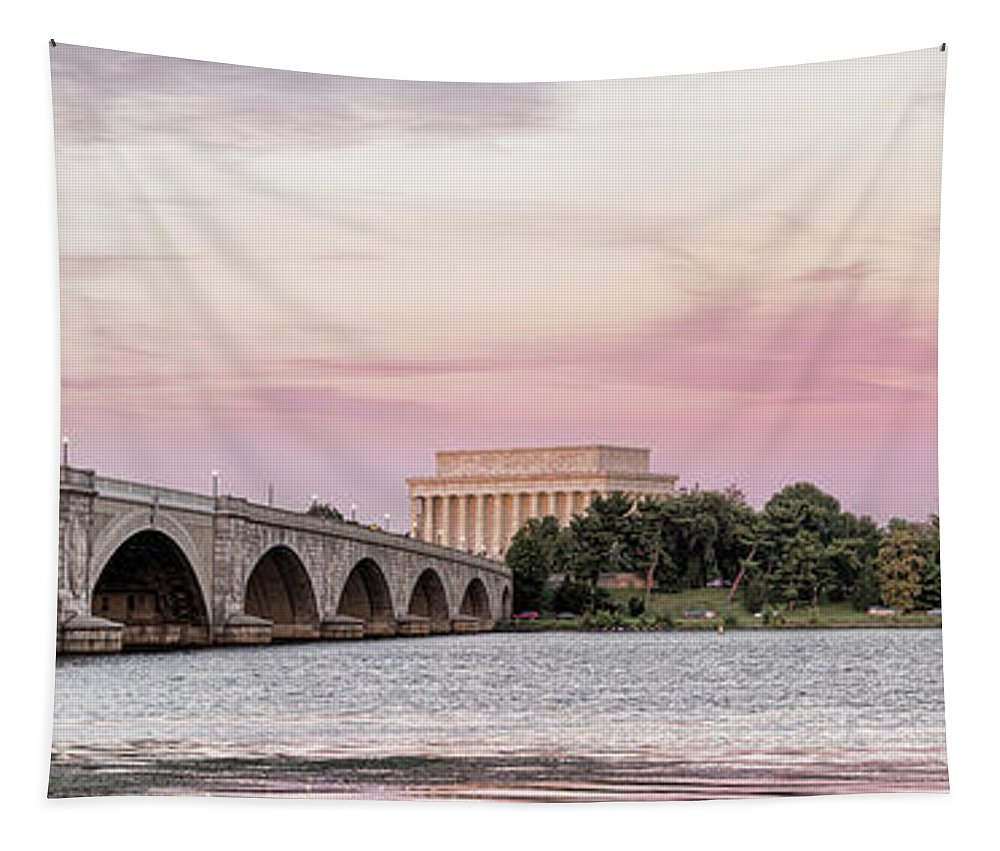 Photography Tapestry featuring the photograph Arlington Memorial Bridge With Lincoln by Panoramic Images