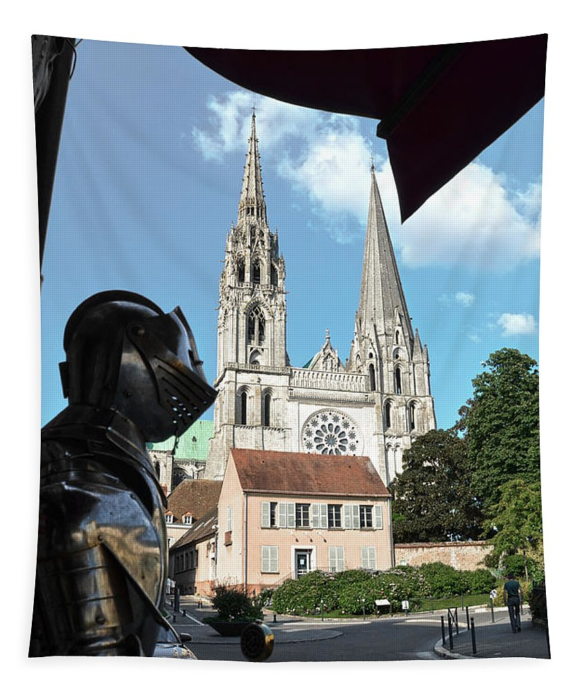 Chartres Tapestry featuring the photograph Armor And Chartres Cathedral by RicardMN Photography