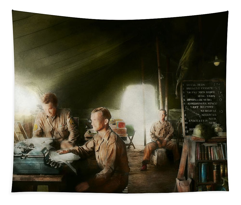 World War 2 Tapestry featuring the photograph Army - Administration by Mike Savad