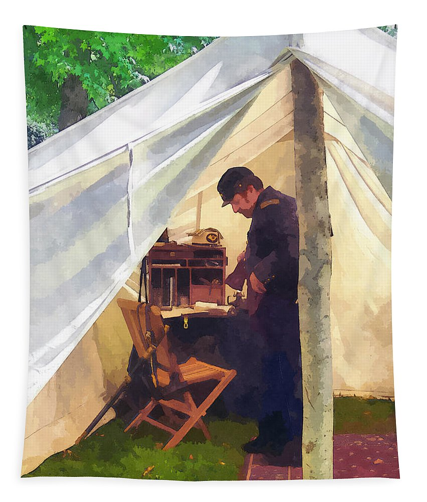 Civil War Tapestry featuring the photograph Army - Civil War Officer's Tent by Susan Savad
