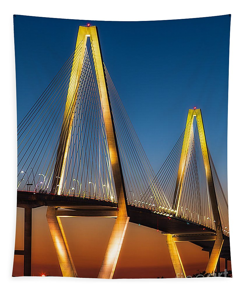 Arch Tapestry featuring the photograph Arthur Ravenel At Sunset by Jerry Fornarotto
