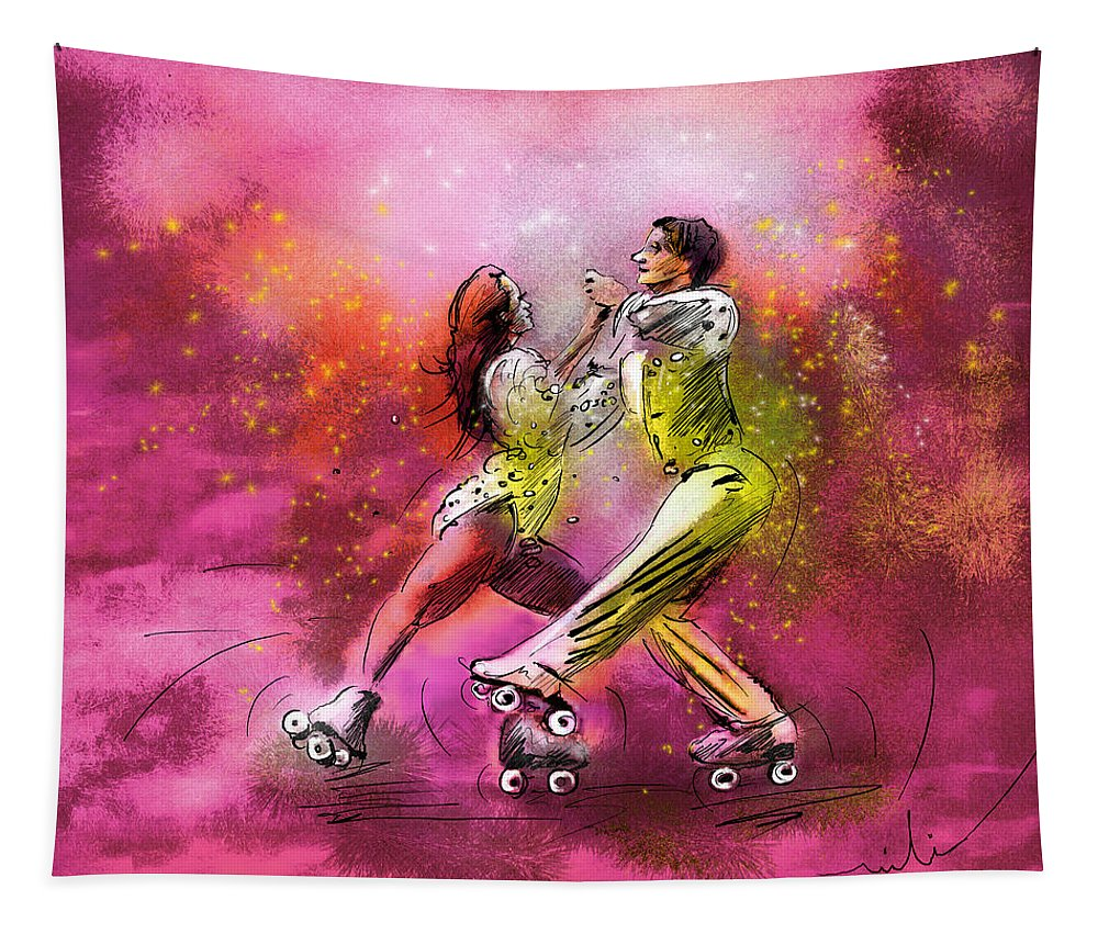 Sports Tapestry featuring the painting Artistic Roller Skating 01 by Miki De Goodaboom