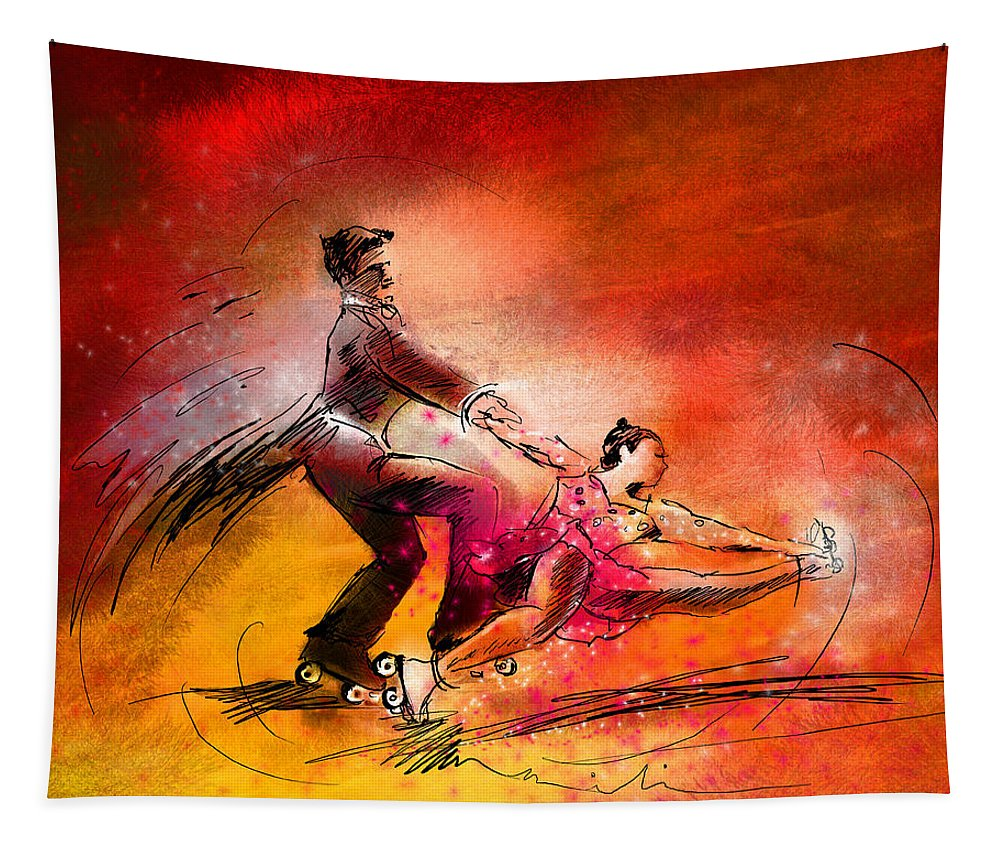 Sports Tapestry featuring the painting Artistic Roller Skating 02 by Miki De Goodaboom
