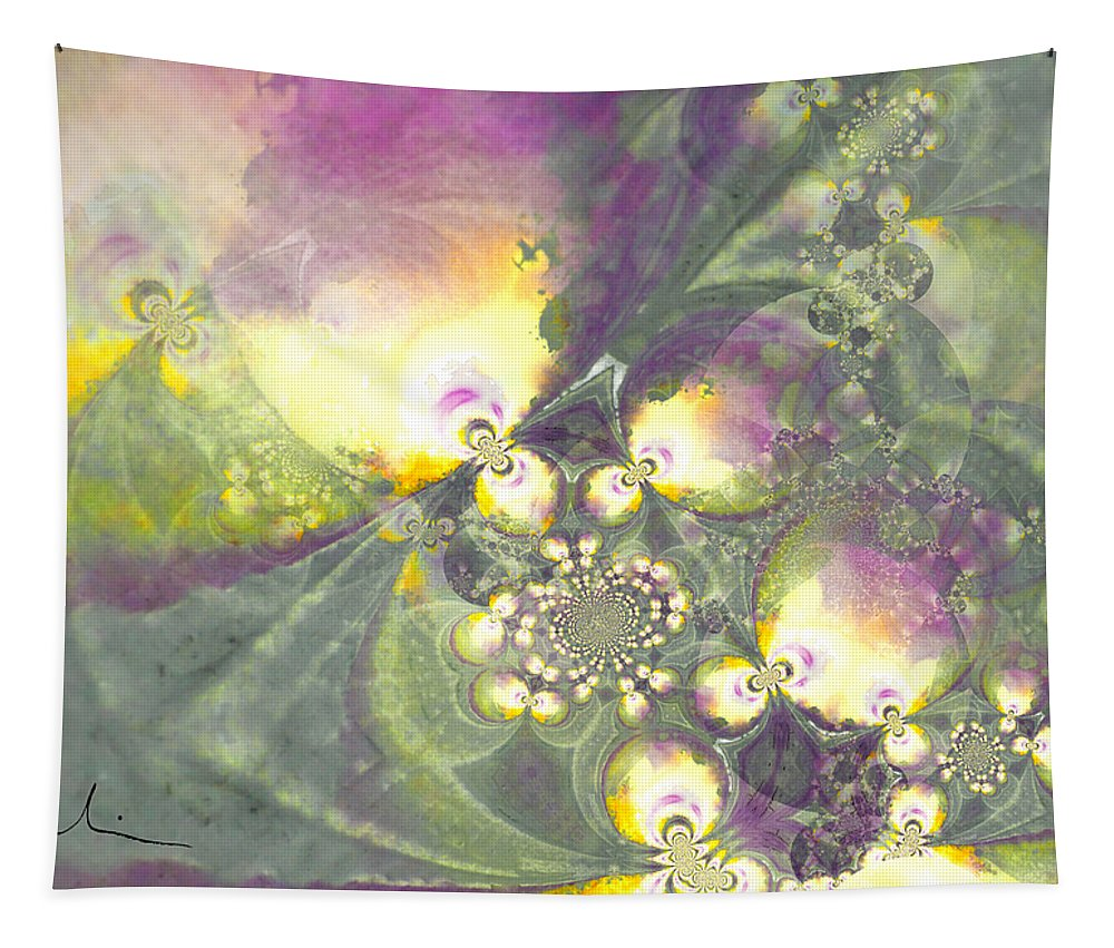 Fractal Tapestry featuring the painting As Dreams Came True by Miki De Goodaboom