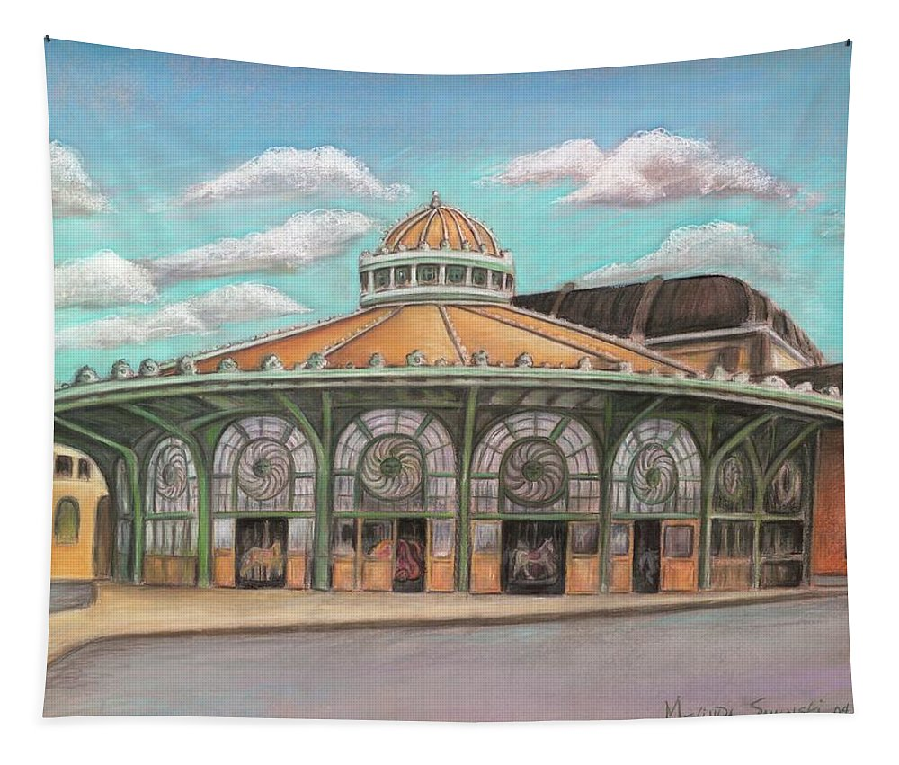 Carousel House Tapestry featuring the painting Asbury Park Carousel House by Melinda Saminski