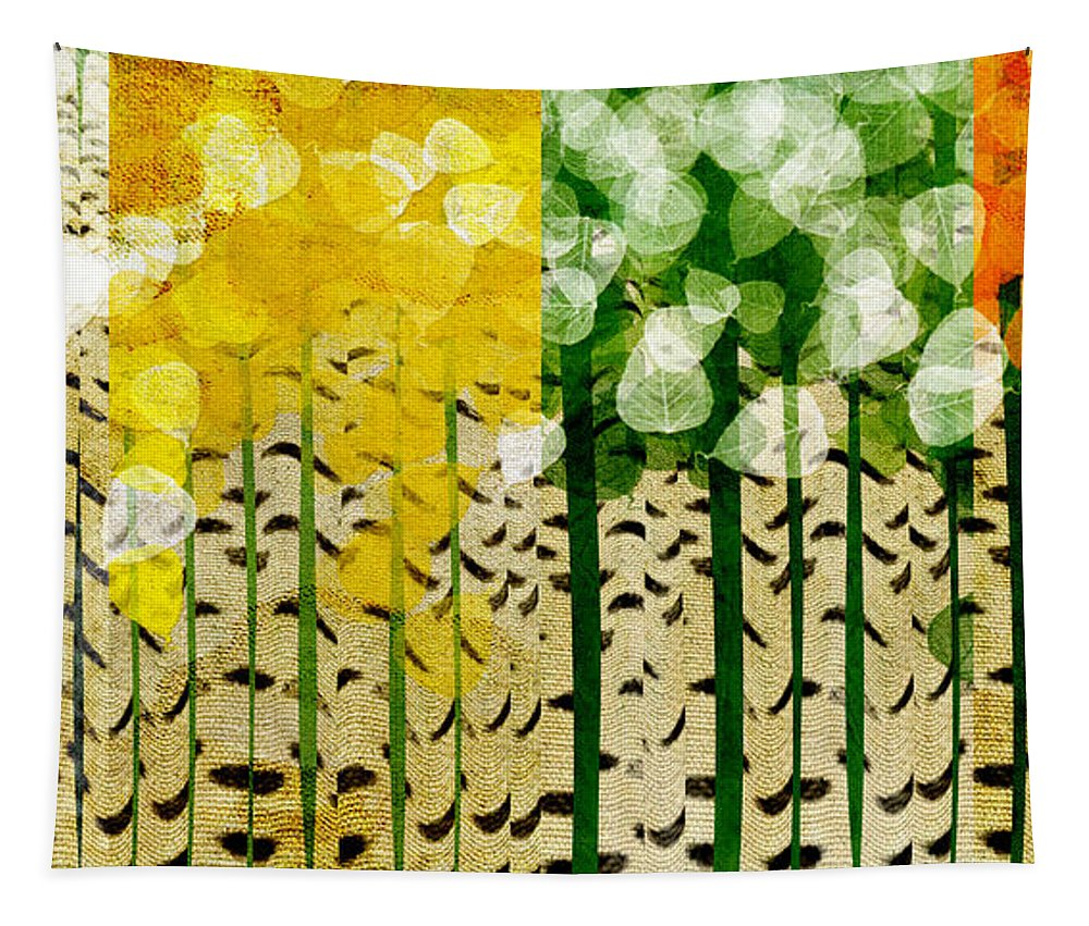Abstract Tapestry featuring the digital art Aspen Colorado 4 Seasons Abstract by Andee Design