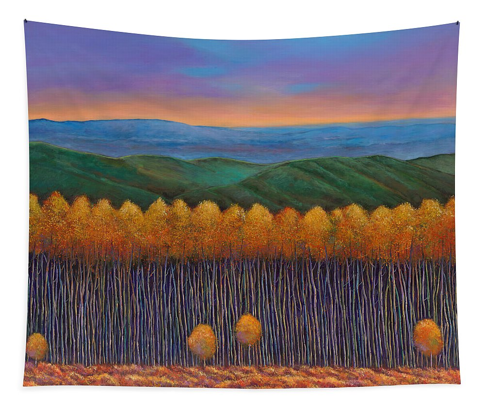 Autumn Aspen Tapestry featuring the painting Aspen Perspective by Johnathan Harris