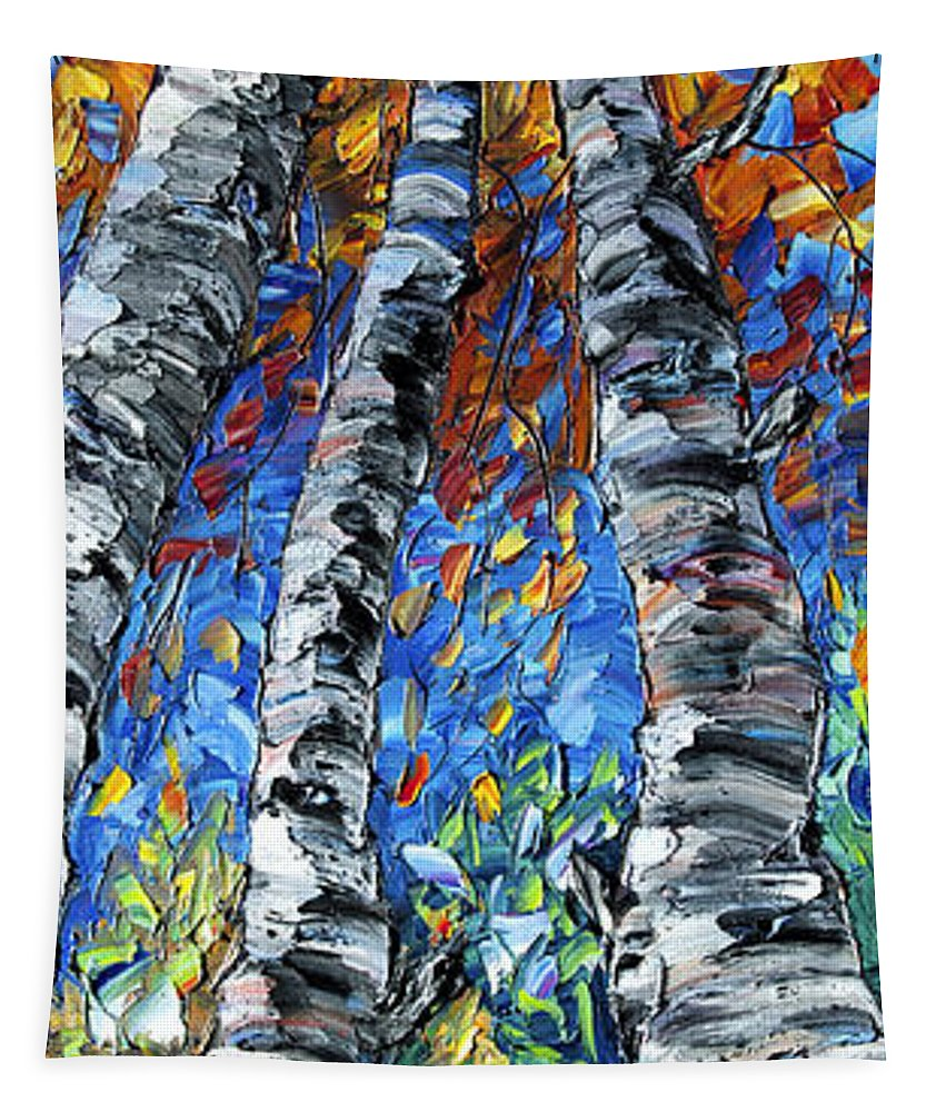 Aspen Painting Tapestry featuring the painting Aspen Up by OLena Art Brand