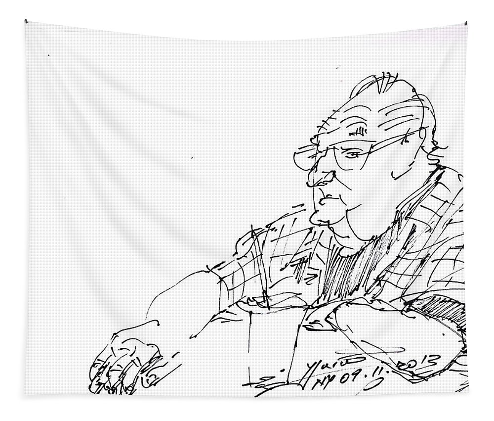 At Coffee Table Tapestry featuring the drawing At Coffee Table by Ylli Haruni