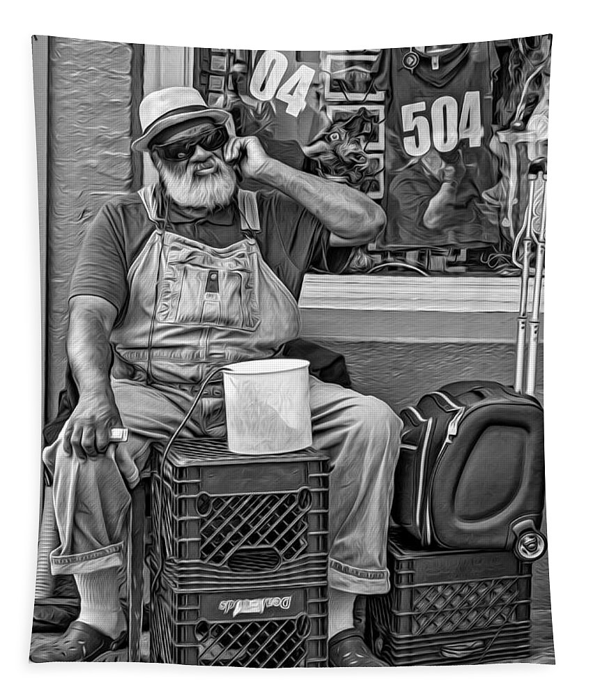 French Quarter Tapestry featuring the photograph At His Office - Grandpa Elliott Small Bw by Steve Harrington
