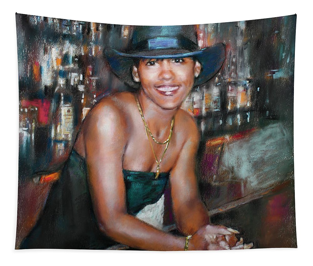 At The Bar Tapestry featuring the pastel At The Bar by Ylli Haruni