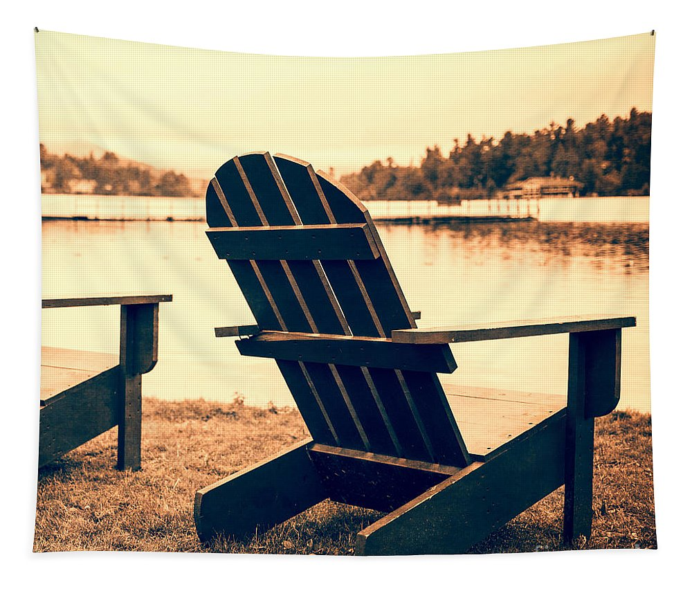 Pillow Tapestry featuring the photograph At The Lake Square Format by Edward Fielding