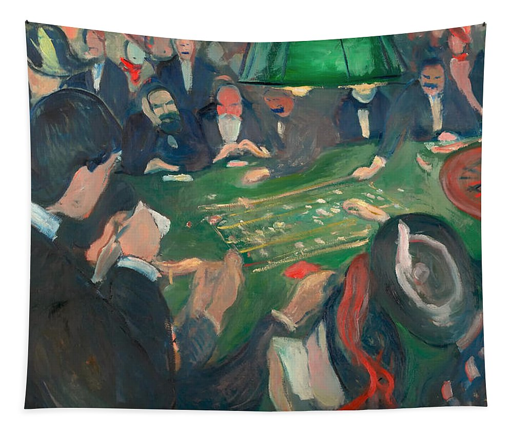 Painting Tapestry featuring the painting At The Roulette Table In Monte Carlo by Mountain Dreams