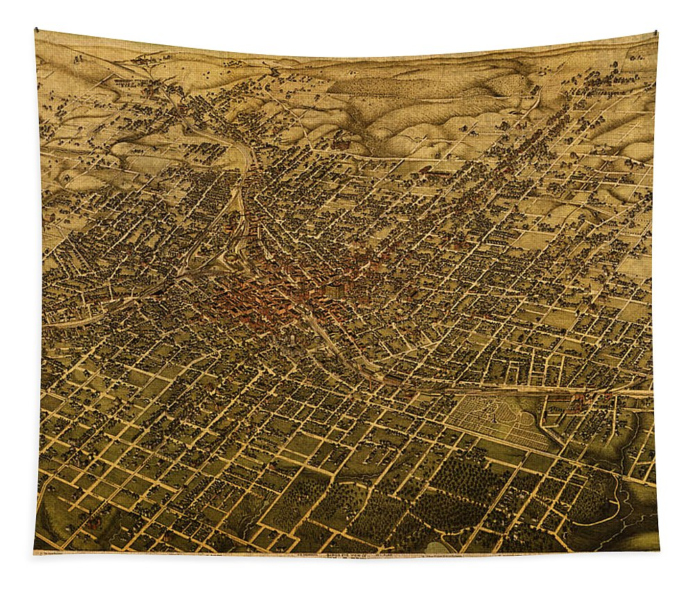 Atlanta Tapestry featuring the mixed media Atlanta Georgia City Schematic Street Map 1892 On Recovered Worn Parchment Paper by Design Turnpike