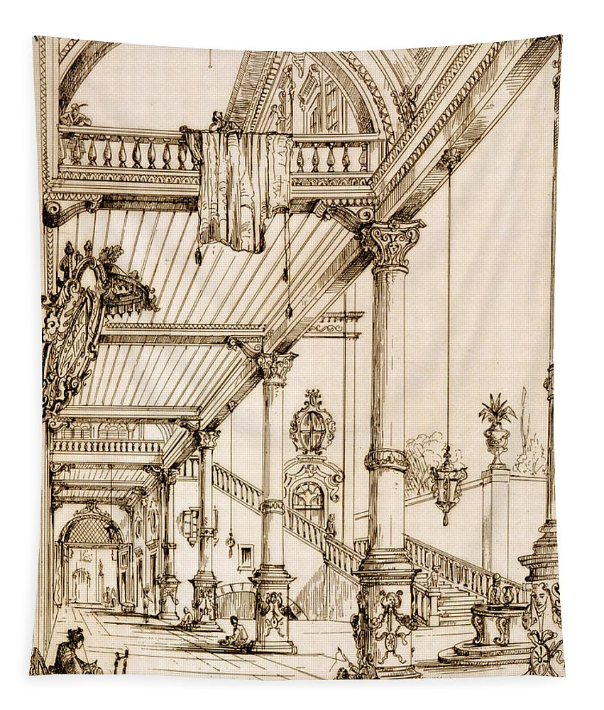 French Tapestry featuring the drawing Atrium Of A Palace, In Genes, From Art by Jean Francois Albanis de Beaumont