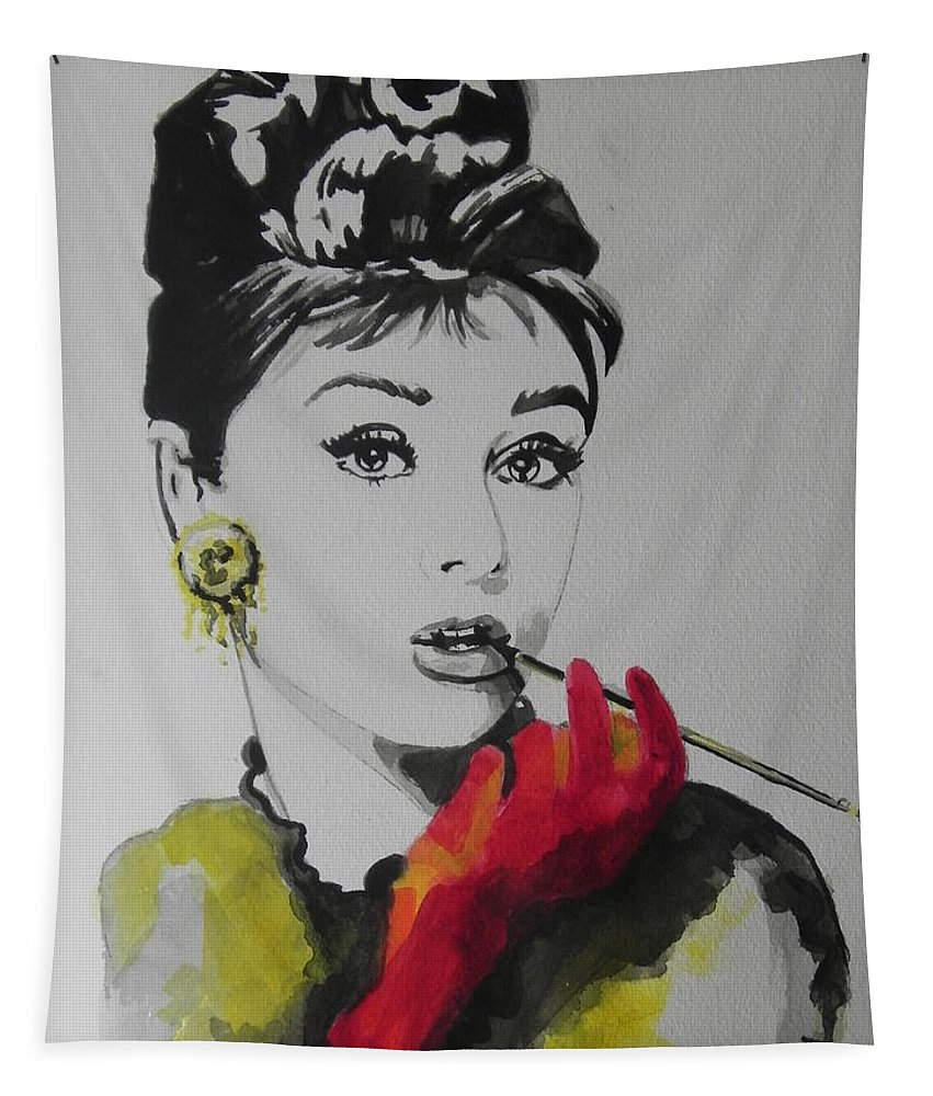 Watercolor Painting Tapestry featuring the painting Audrey Hepburn by Chrisann Ellis