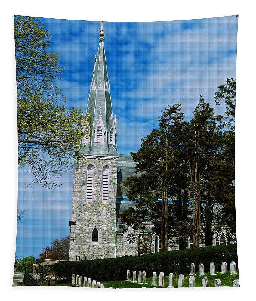 Villanova College Tapestry featuring the photograph Augustinian Cemetery And Church by William Norton