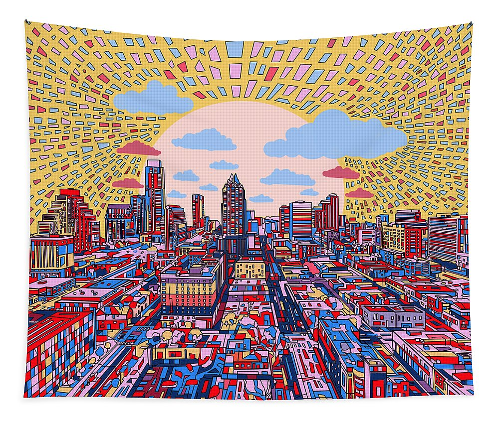 Austin Tapestry featuring the painting Austin Texas Abstract Panorama 2 by Bekim Art