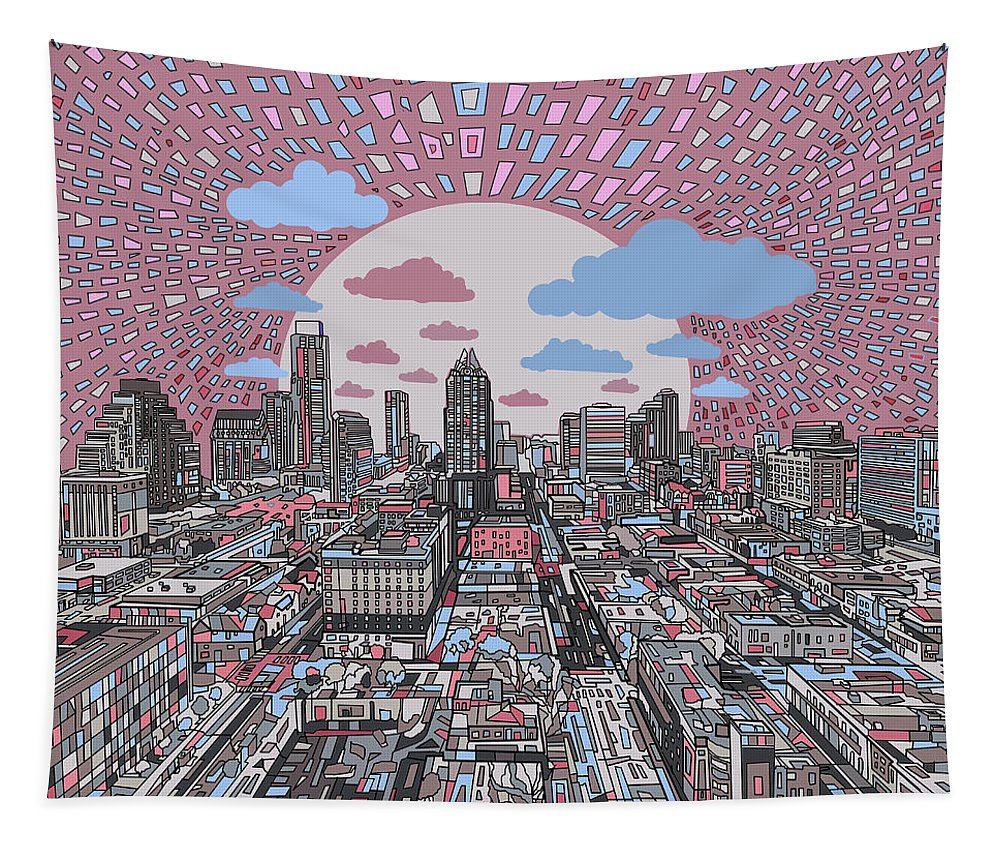 Austin Tapestry featuring the painting Austin Texas Abstract Panorama 3 by Bekim Art