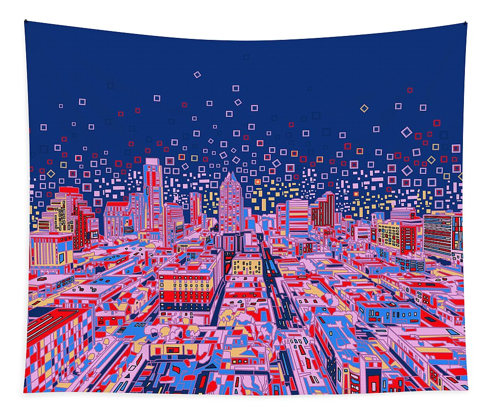 Austin Tapestry featuring the painting Austin Texas Abstract Panorama by Bekim Art