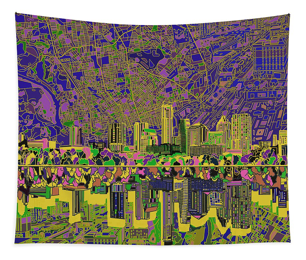 Austin Texas Tapestry featuring the painting Austin Texas Skyline by Bekim Art