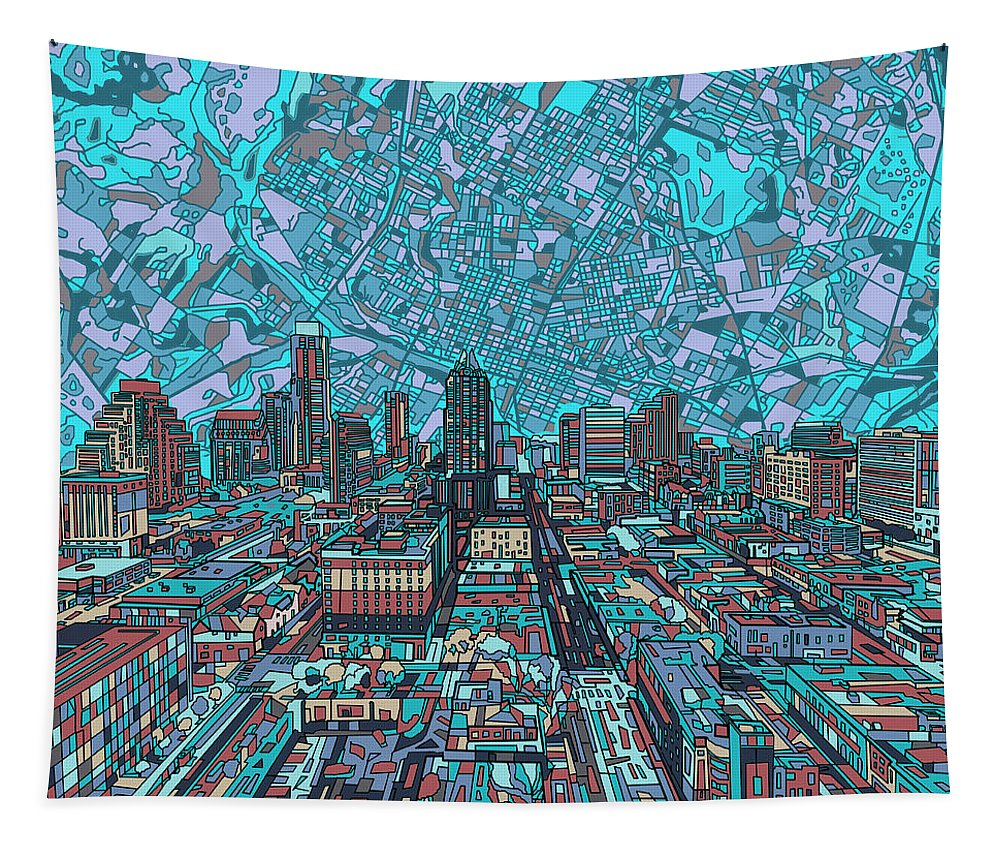 Austin Tapestry featuring the painting Austin Texas Vintage Panorama 4 by Bekim Art