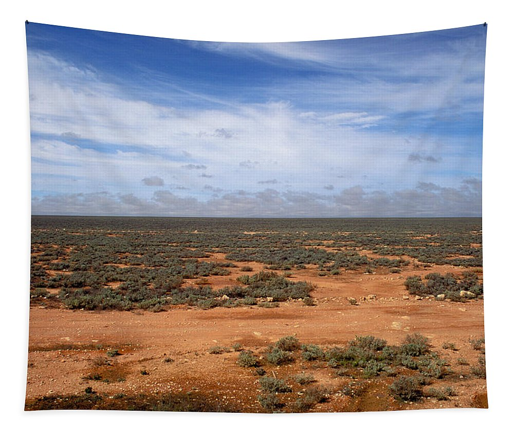 No People; Horizontal; Outdoors; Day; Elevated View; Cloud; Tropical; Non Urban Scene; Horizon Over Land; Landscape; Scenics; Beauty In Nature; Australia; Plain; Flat; Sky; Plant Tapestry featuring the photograph Australia Null Harbor Plain by Anonymous