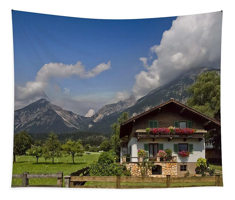 Austria Tapestry featuring the photograph Austrian Cottage by Debra and Dave Vanderlaan