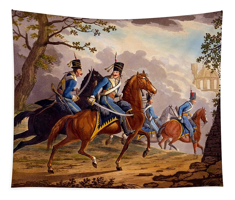 Austrian Tapestry featuring the drawing Austrian Hussars In Pursuit by Conrad Gessner