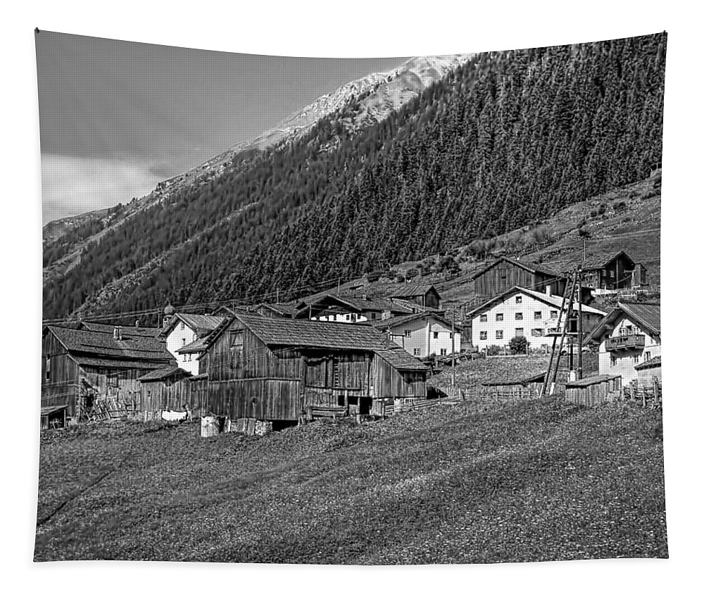 Austria Tapestry featuring the photograph Austrian Village Monochrome by Steve Harrington