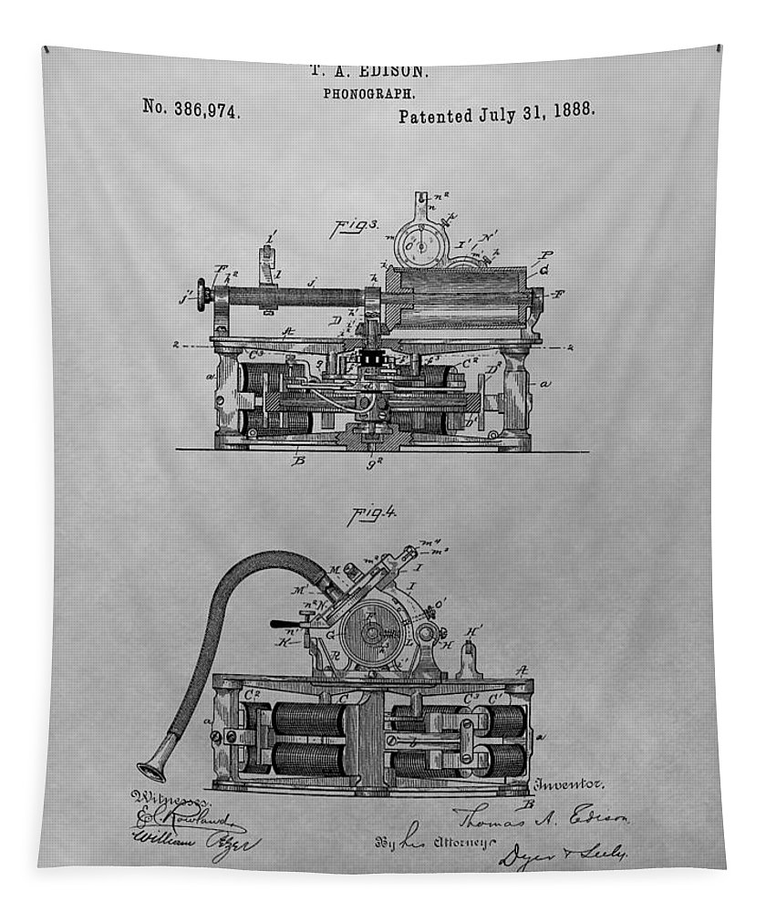 Thomas Edison's Phonograph Tapestry featuring the drawing Authentic Thomas Edison Phonograph Patent by Dan Sproul