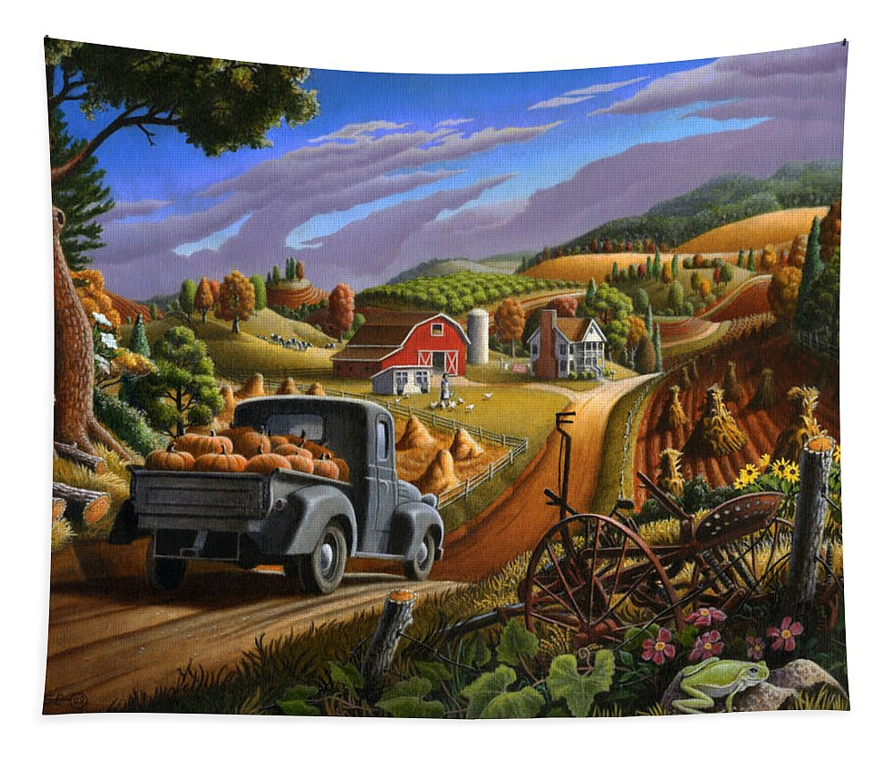 Autumn Tapestry featuring the painting Autumn Appalachia Thanksgiving Pumpkins Rural Country Farm Landscape - Folk Art - Fall Rustic by Walt Curlee