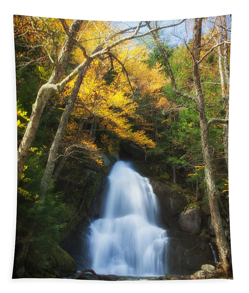 Granville Vermont Tapestry featuring the photograph Autumn At Moss Glenn Falls by Jeff Folger