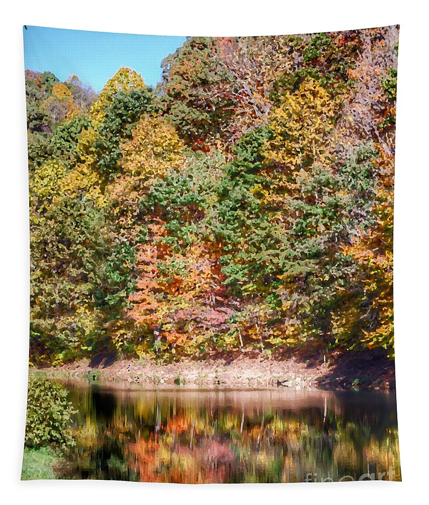 Autumn Tapestry featuring the photograph Autumn At The Pond by Kerri Farley
