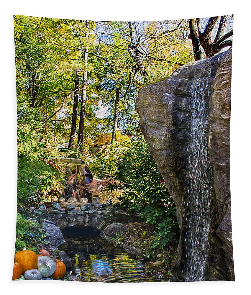 Relax Tapestry featuring the photograph Autumn At The Waterfall by Tom Gari Gallery-Three-Photography