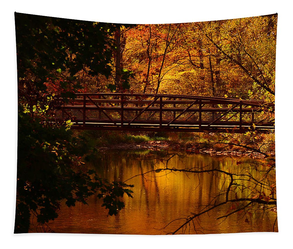 Jacobsburg State Park Pa Tapestry featuring the photograph Autumn Bridge by Raymond Salani III