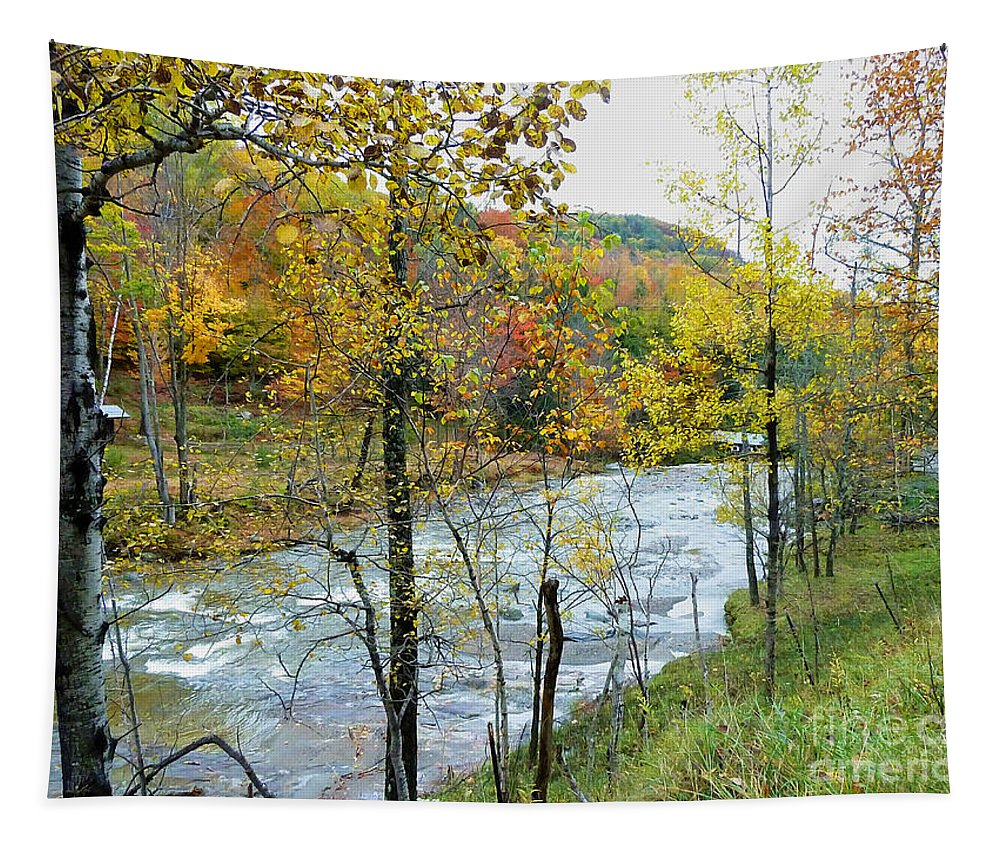 Autumn Tapestry featuring the photograph Autumn By The River by Deborah Benoit