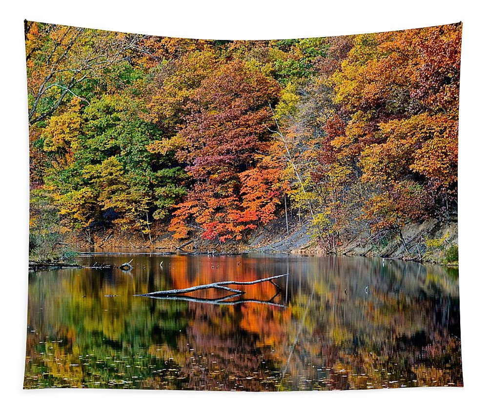 Autumn Tapestry featuring the photograph Autumn Colors Reflect by Frozen in Time Fine Art Photography