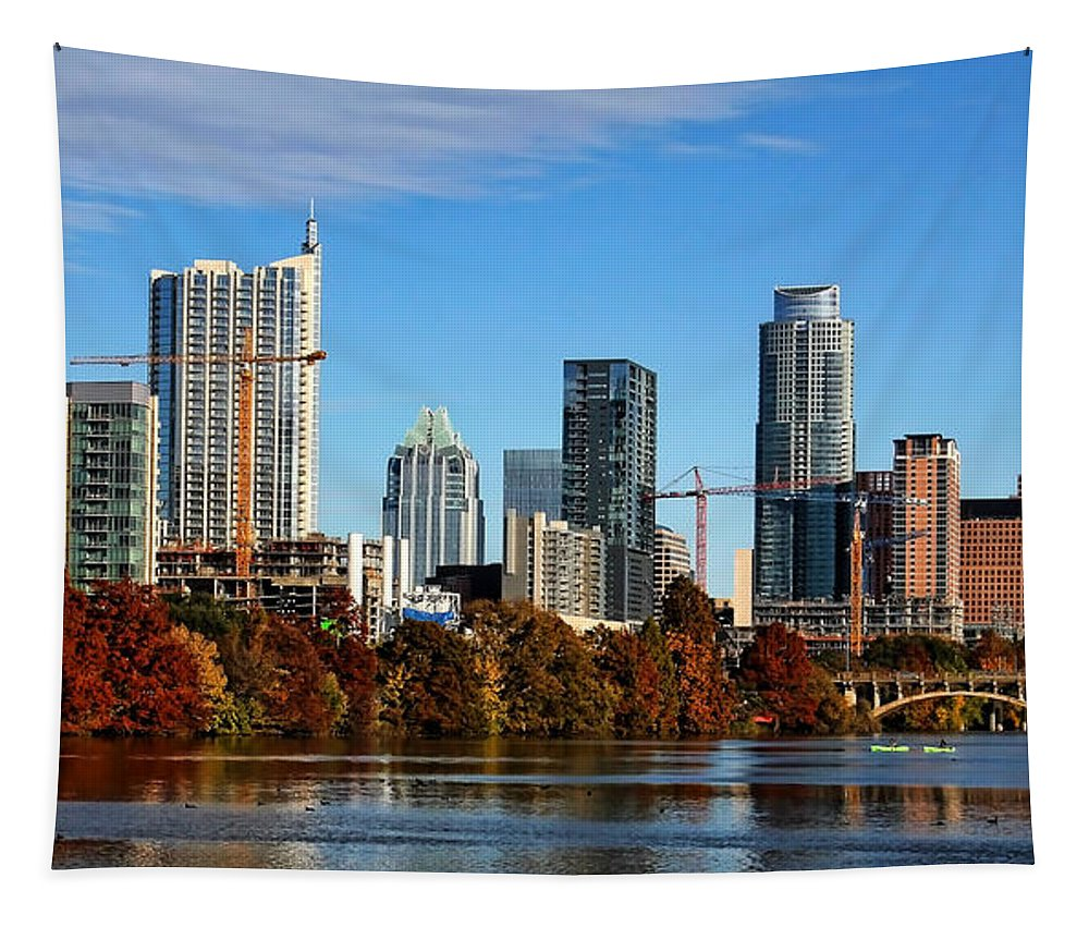 Austin Tapestry featuring the photograph Autumn In Austin by Judy Vincent