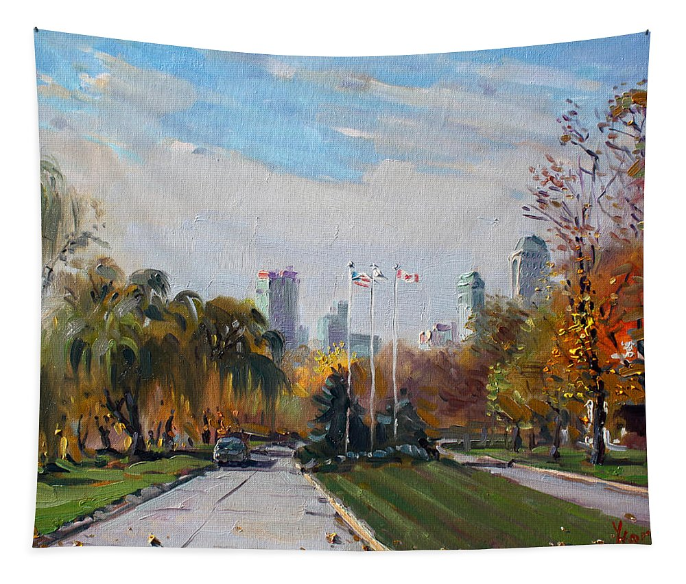 Autumn Tapestry featuring the painting Autumn In Niagara Falls State Park by Ylli Haruni