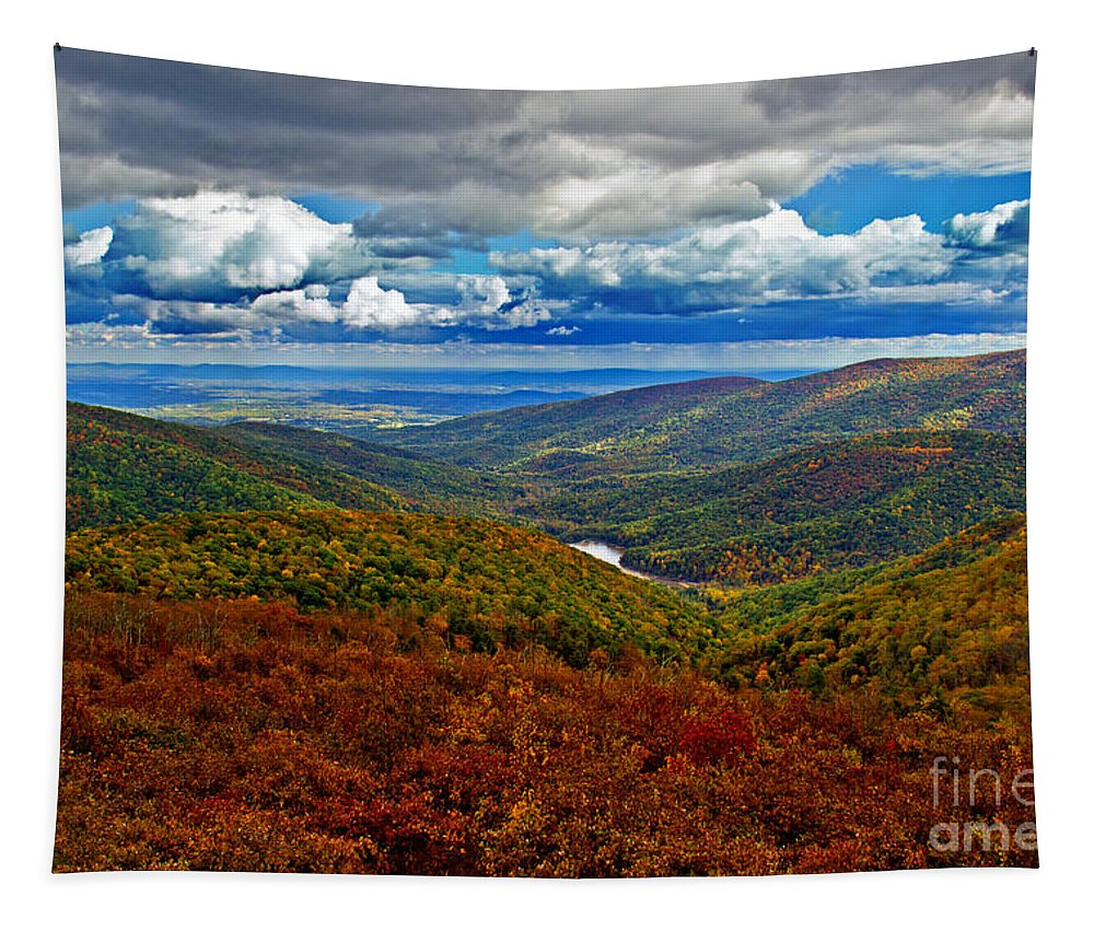 Nature Tapestry featuring the photograph Autumn In Shenandoah Park by Tom Gari Gallery-Three-Photography