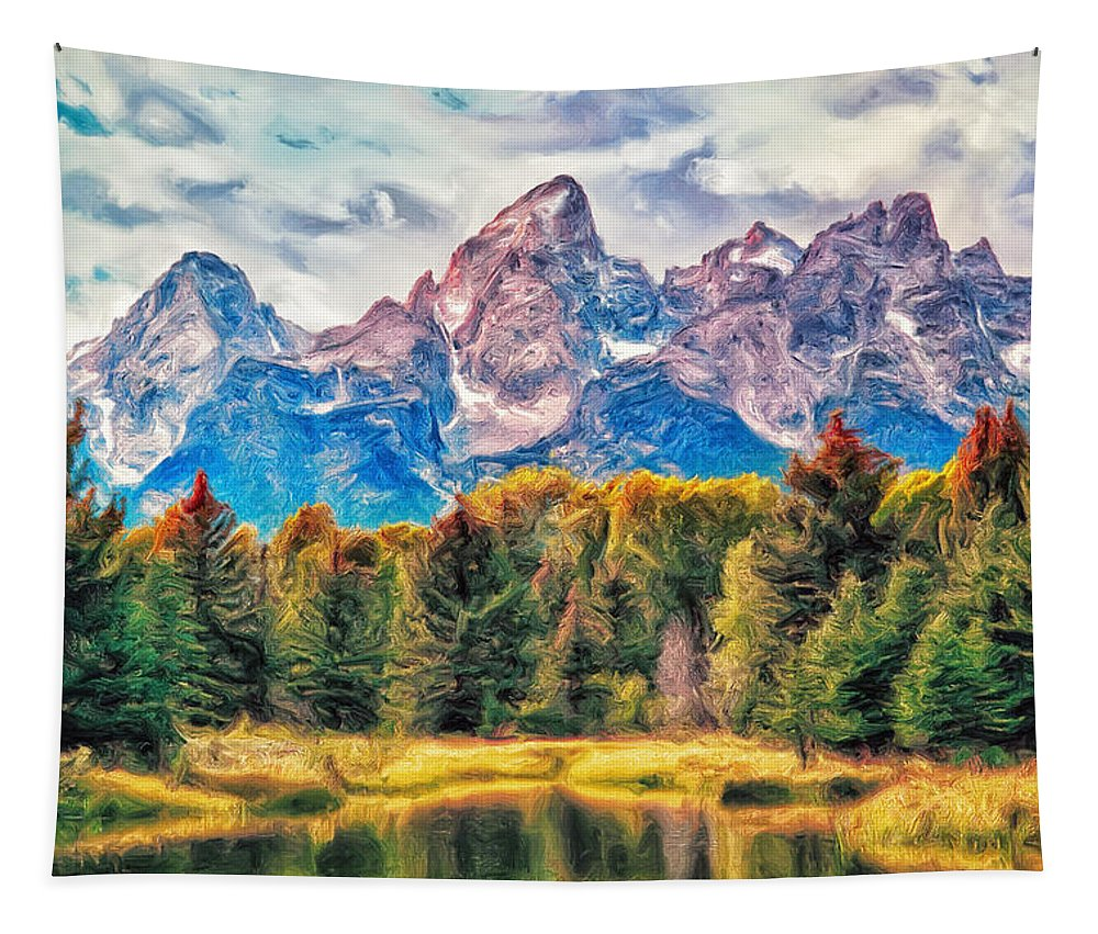 Autumn Tapestry featuring the painting Autumn In The Tetons by Dominic Piperata