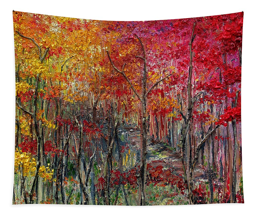 Autumn Tapestry featuring the painting Autumn In The Woods by Karin Dawn Kelshall- Best