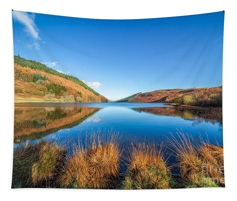 Betws Y Coed Tapestry featuring the photograph Autumn Lake by Adrian Evans