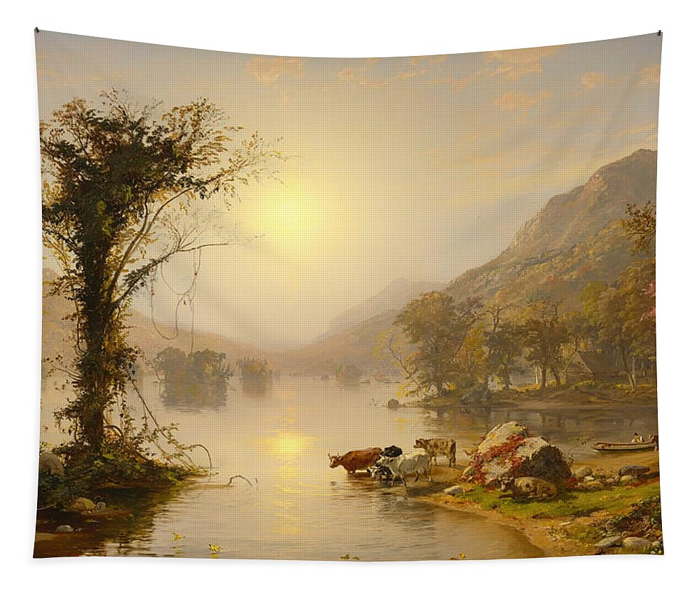Painting Tapestry featuring the painting Autumn On Greenwood Lake by Mountain Dreams