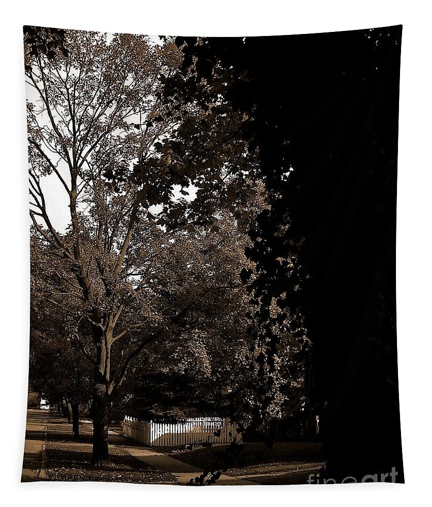 Color Monochrome Tapestry featuring the photograph Autumn On Maple Road by Frank J Casella