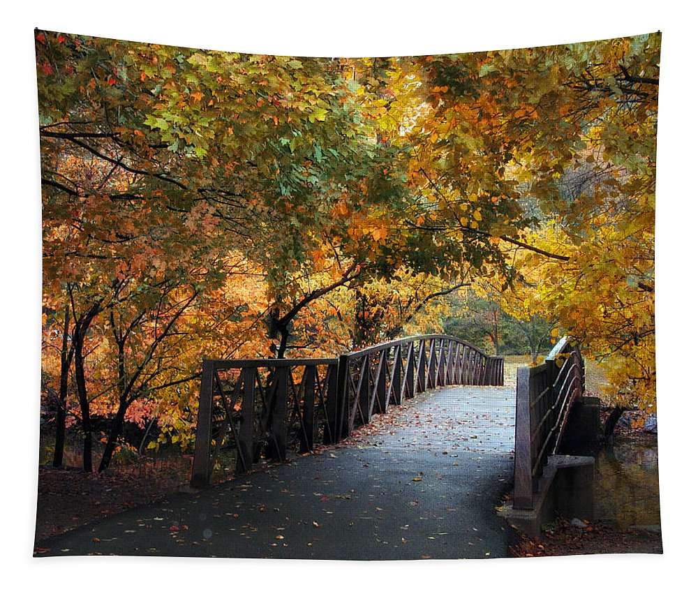 Autumn Tapestry featuring the photograph Autumn Overpass by Jessica Jenney