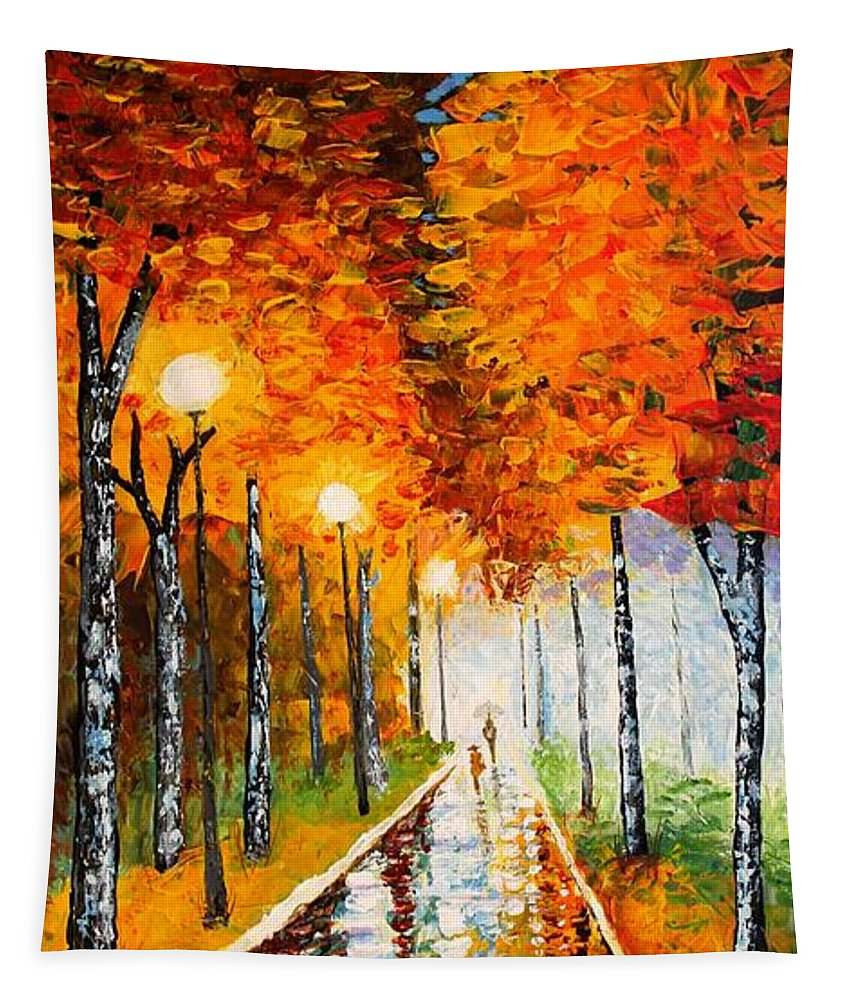 Autumn Tapestry featuring the painting Autumn Park Night Lights Palette Knife by Georgeta Blanaru